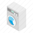 clothes, clothing, housework, isometric, machine, washer, white icon