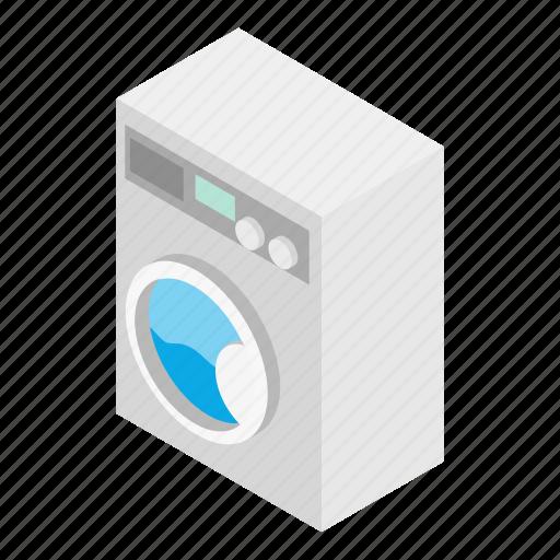 clothes, clothing, housework, isometric, machine, washer, white icon