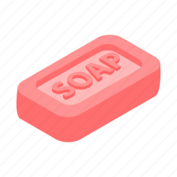 bar, clean, hygiene, isometric, object, pink, soap icon