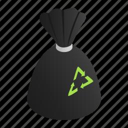 bag, bin, can, ecology, isometric, shadow, trash icon