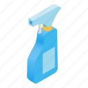 bathroom, bottle, cleaning, isometric, liquid, spray, spraybottle icon