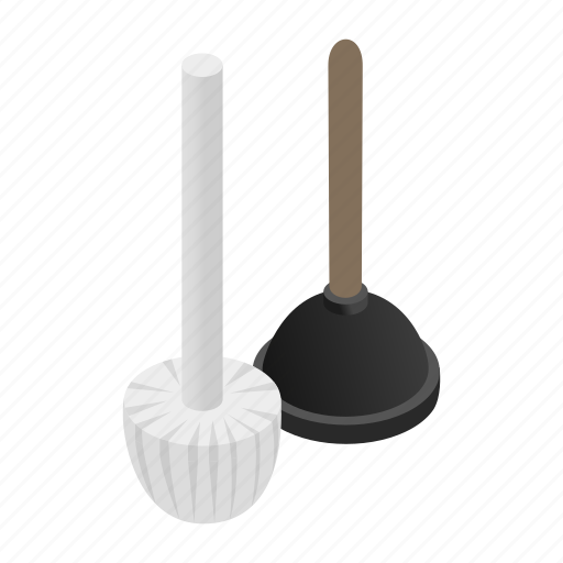 fix, flush, isometric, plunger, rubber, toilet, unclog icon