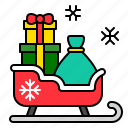christmas, gift, gift box, present, sled, sledge, xmas icon