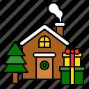 christmas, gift, home, house, present, winter, xmas icon