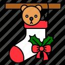 christmas, decoration, gift, ornament, present, sock, xmas icon