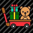 cart, christmas, doll, gift, gift box, present, xmas icon