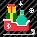 gift box, xmas, gift, present, sledge, christmas, sled icon