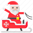christmas, santa, santa claus, sled, sledge, xmas icon