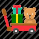 cart, christmas, doll, gift, gift box, present, xmas