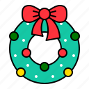christmas, decoration, holiday, ornament, wreath, xmas icon