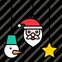 christmas, decoration, hanging, mobile, ornament, santa