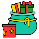 bag, christmas, gift box, present, santa, xmas icon