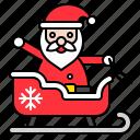 christmas, santa, santa claus, sled, sledge, sleigh, xmas icon