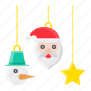 christmas, decoration, hanging, mobile, ornament, santa icon