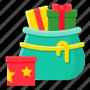 bag, christmas, gift box, present, santa, xmas