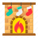 christmas, fire, fireplace, santa, sock, xmas