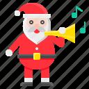 christmas, horn, music, santa, santa claus, xmas icon