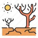 dead, hot, soil, tree, warming, dry, landscape icon