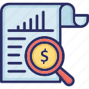 financial analysis, investment analysis, investment evaluating, investment research, market research icon