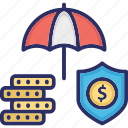 financial insurance, financial protection, financial security, money assurance, money protection icon