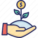 dollar plant, financial growth, investment growth, money growth, money plant icon