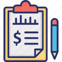 budget, business analysis, financial report, fundraising, income statement icon
