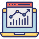 infographic, online data analytics, statistics, trend chart, trend graph icon