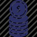cash, currency, dollar, dollar coin, finance icon