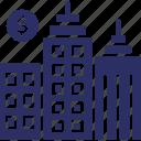 brokerage architecture, brokerage building, business center, financial center, financial institute icon