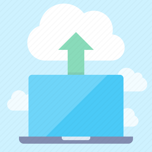cloud, laptop, upload icon