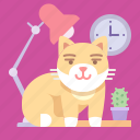 cat, home, lamp icon
