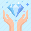 diamond, gift, hands icon