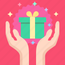 box, gift, hands icon