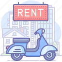 scooter, motorbike, rent icon