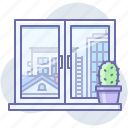 city, view, window icon