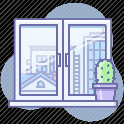 city, view, window icon