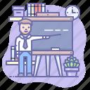blackboard, study, teacher icon