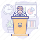 presentation, speaker, speech icon