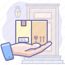 box, careful, delivery, hand icon