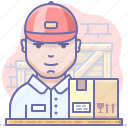 box, boy, courier, delivery icon