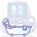 bath, bathroom, bathtub, relax icon