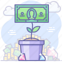 growth, money, plant, pot icon