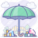 insurance, money, safe, umbrella icon