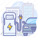 car, charge, electric, station icon
