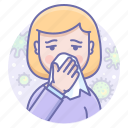 blow, cold, flu, ill, napkin, nose, sick icon