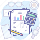 analytics, documents, data, finance icon