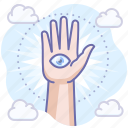 witch, hand, magic, eye icon