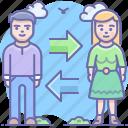 transfer, woman, man, exchange icon