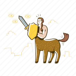 centaur, creature, mythical, shield, protection, safety