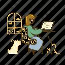 coding, code, computer, laptop, woman, workspace, pet